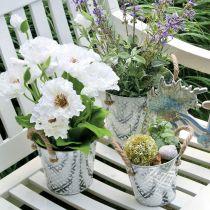 Cache-pot avec motif fleuri, pot en métal pour la plantation, cache-pot avec anses Ø25,5cm