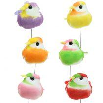 Oiseaux sur fil de fer différents coloris 8 cm 12 p.