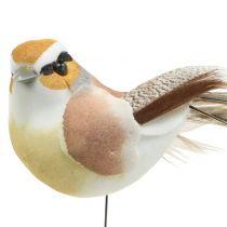 Oiseaux sur fil nature 9cm 12pcs