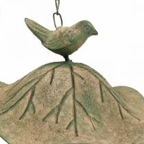 Bain d'oiseau suspendu en métal Bain d'oiseau jardin aspect antique H28cm