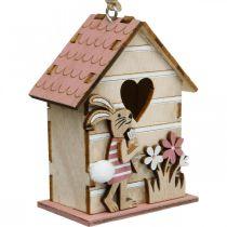 Maison d'oiseau à accrocher, printemps, maison d'oiseau décorative avec lapin, décoration de Pâques 4pcs