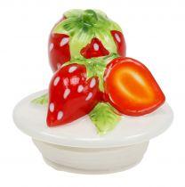 Pot de rangement avec couvercle fraise 14,5cm