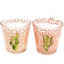 Bougie de cire en verre cactus Ø 6,5 cm 2 p.