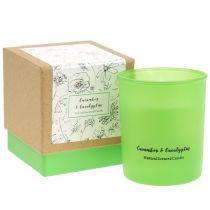 Bougie parfumée dans un verre Eucalyptus et concombre Ø7cm