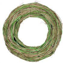 Couronne de bast au saule nature / vert Ø40cm