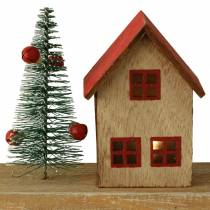 Village de Noël avec éclairage LED naturel, bois rouge 40 × 10,5 × 7cm