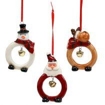 Figures de Noël 8cm - 10cm pour accrocher 3pcs