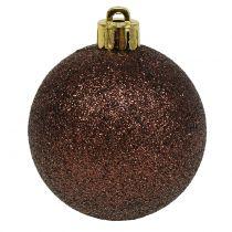 Mélange de boules de Noël matière synthétique chocolat Ø 6 cm 10 p.