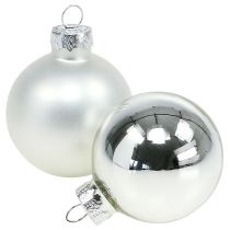 Mélange de boules de Noël en verre Ø 6 cm argent 24 p.