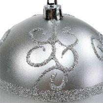 Boule de Noël argentée Ø 8 cm plastique 1 p.