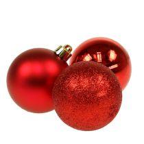 Boule de Noël en plastique rouge 6cm 10pcs