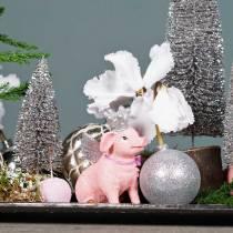 Boule de Noël en plastique argenté 6cm 10pcs