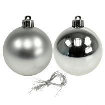 Boule de Noël en plastique Ø6cm argent mix 12pcs