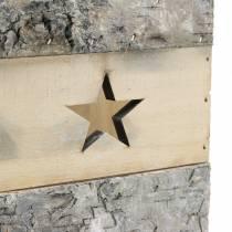 Photophore bois de bouleau avec anse 14,5 x 14,5 cm H. 20 cm