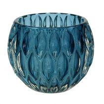 Lanterne En Verre Bleu Foncé Ø11,5cm H9cm