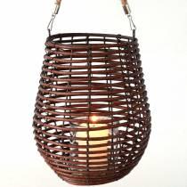 Lanterne décorative, décoration bougie avec anse, lanterne dans le panier Ø23cm H27cm