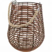 Bougie dans un panier, lanterne avec anse, décoration bougie, lanterne panier Ø24cm H34cm