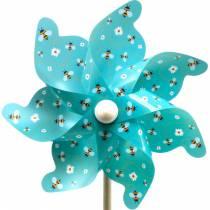 Pinwheel abeilles turquoise Ø31cm carillons éoliens décoration de jardin moulin à vent
