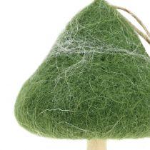 Champignons Décoration à accrocher en bois / feutre vert Ø5cm-Ø10cm H9cm 8pcs