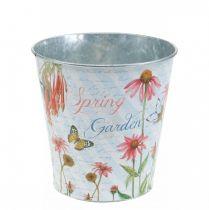 Pot de fleur en métal Echinacea jardinière décoration printanière Ø13,5cm H11,5cm