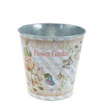 Pot de fleurs décoration d'été jardinière roses en métal Ø11,5cm H10,5cm
