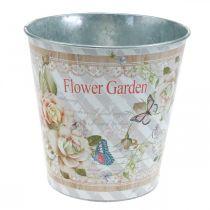 Pot de fleur en métal roses jardinière décoration d'été Ø15cm H15.5cm