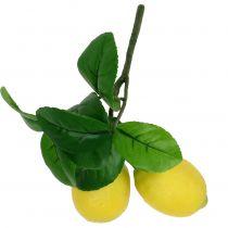 Branche de citronnier avec 2 citrons 24cm jaune
