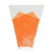 Étui à fleurs orange motif jute L. 40 cm l. 12-30 cm 50 p.