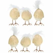 Poussin dans la coquille d'oeuf blanc, crème 6cm 6pcs