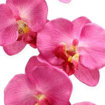 Orchidée factice avec feuilles fuchsia 68 cm