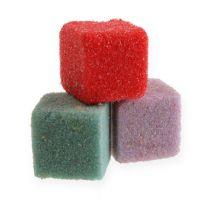 Mini-cubes en mousse florale humide colorés 300p