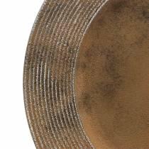 Assiette décorative en plastique effet rouille Ø33cm