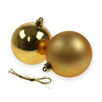 Boules pour sapin de Noël en plastique doré 8 cm 6 p.