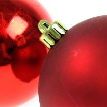 Boules de Noël en plastique rouge 8cm 6pcs