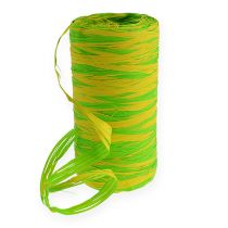 Ruban en raphia Bicolor vert-jaune 200 m