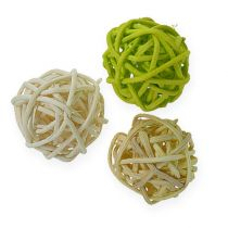 Balle en rotin vert clair, vert pâle, blanc (72 p.)