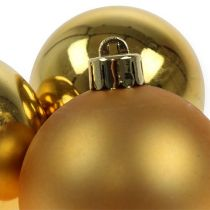 Boule de Noël en plastique or 6cm 12pcs