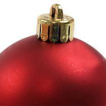 Boule de Noël en plastique rouge Ø6cm 12pcs