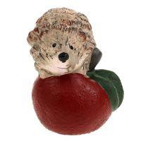 Figurine décorative hérisson sur pomme en céramique 7,5 cm
