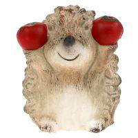 Figurine de hérisson brun en céramique avec pomme 7,5 cm