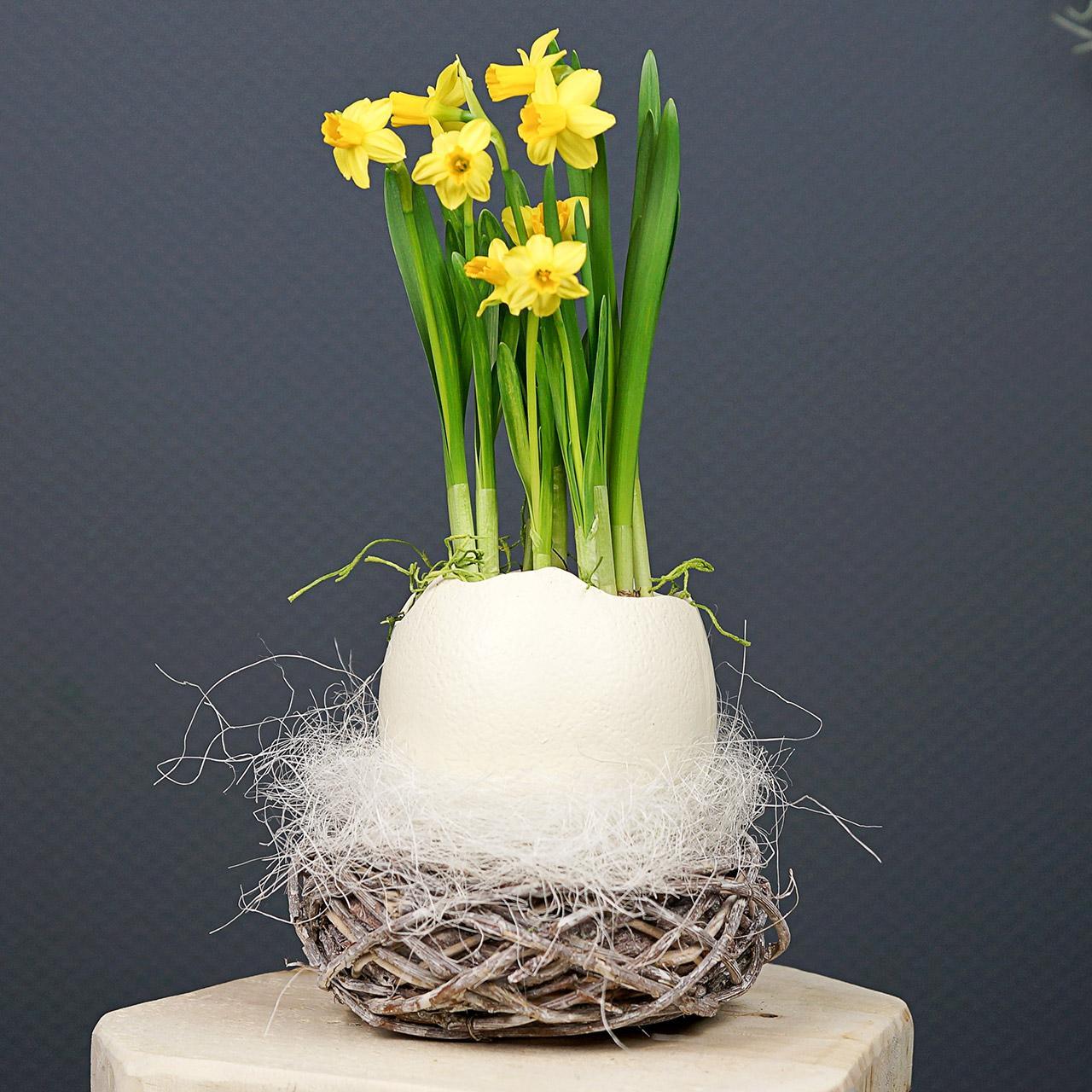 Panier de Pâques en brindilles, naturel, blanc lavé Ø13cm 3pcs
