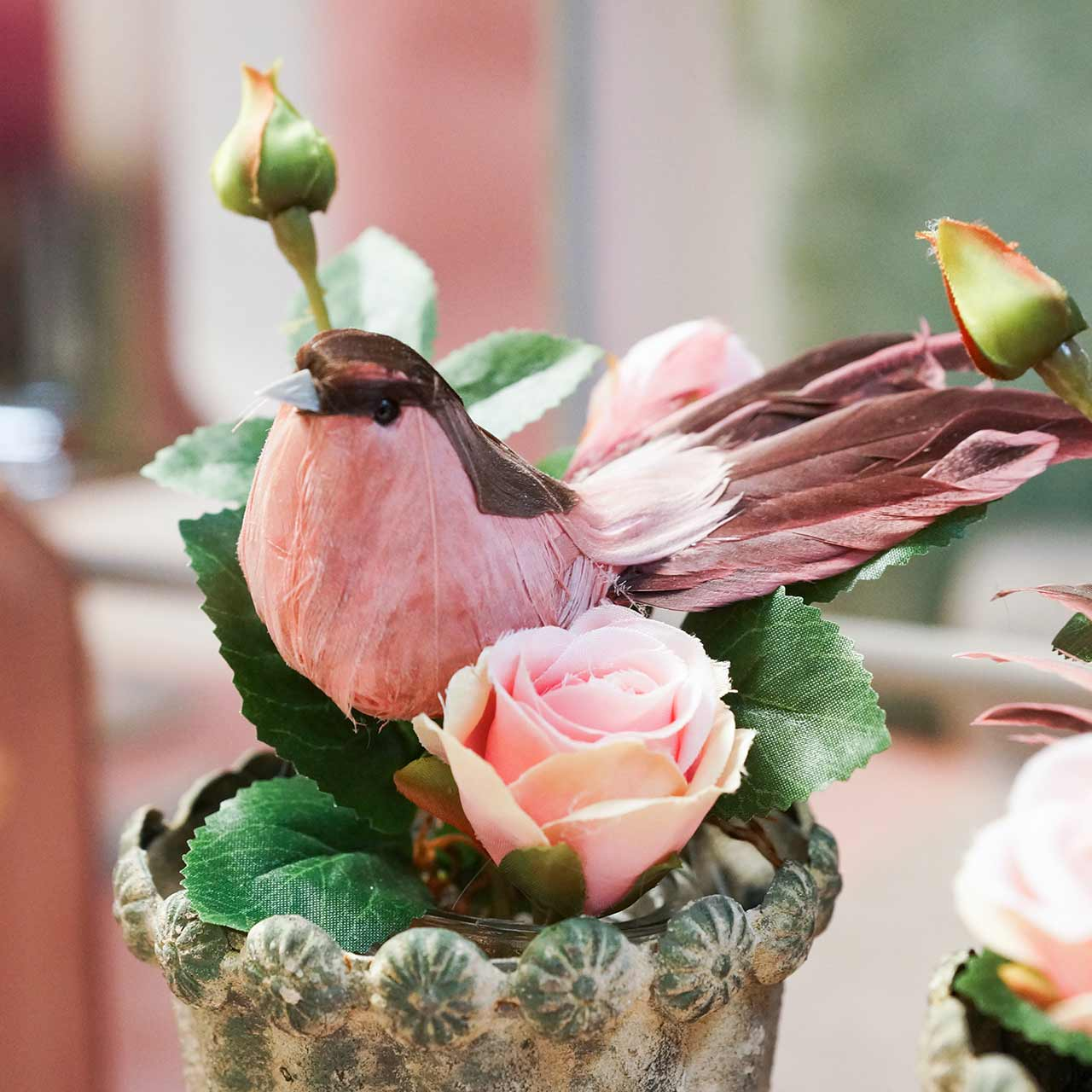 Plume d'oiseau sur fil rose 12cm 4pcs