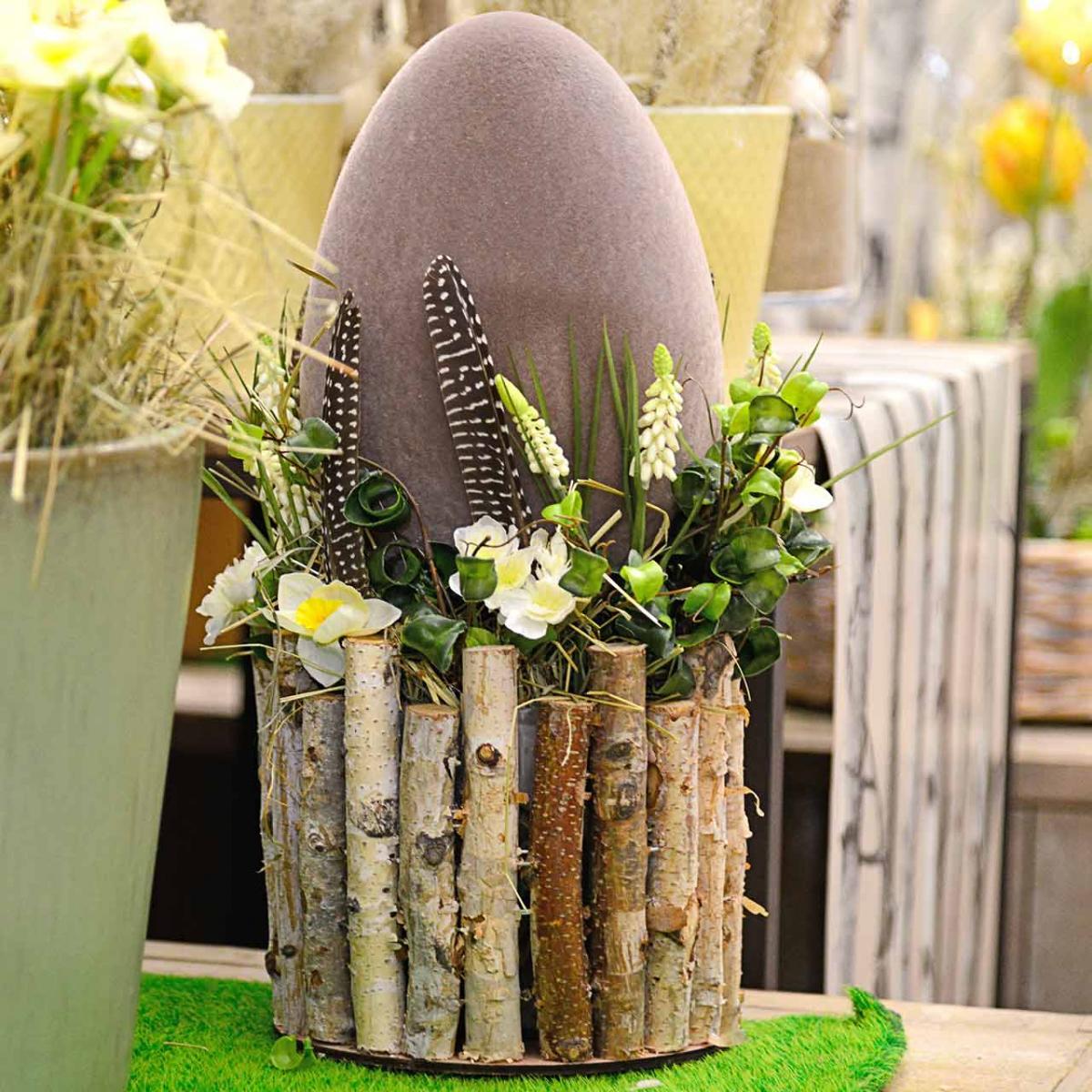 Oeuf de Pâques floqué H25cm Oeufs colorés Décoration de Pâques