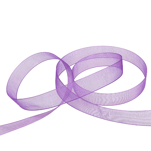 Ruban organza avec lisière 1.5cm 50m violet moyen