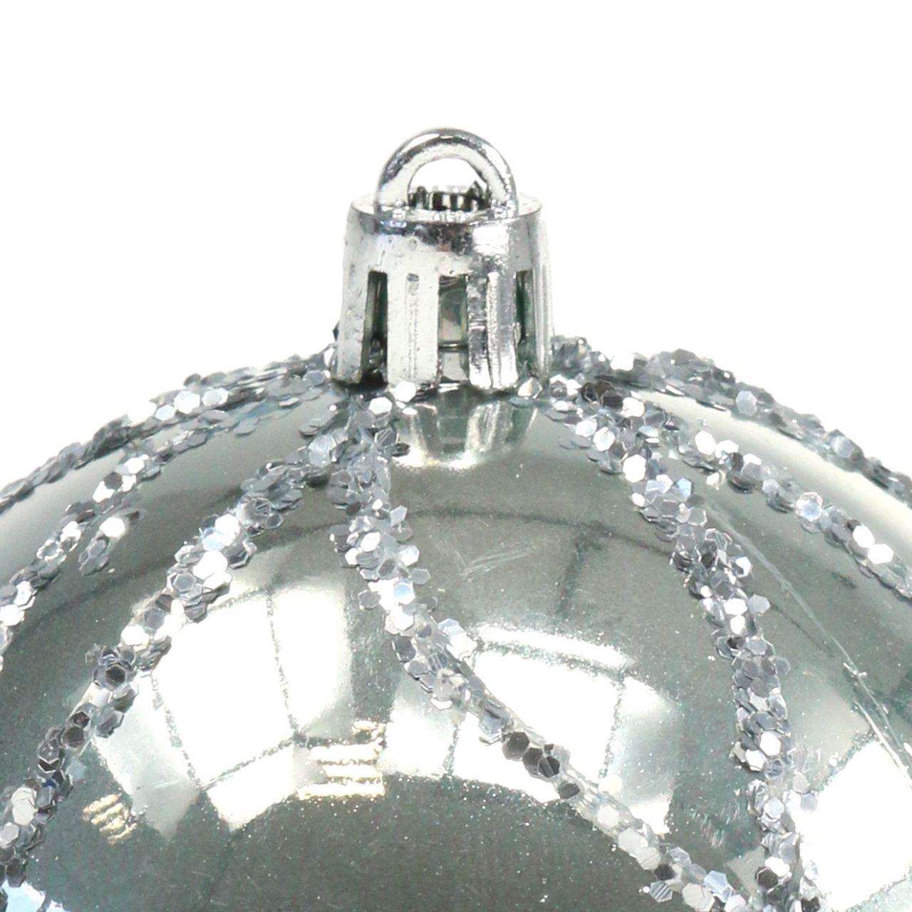 Boule de Noël en plastique argent Ø 8 cm 2 p.
