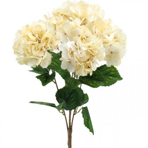Bouquet d'hortensia fleurs artificielles jaune 5 fleurs 48cm