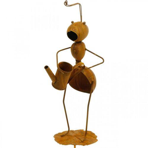 Bouchon décoratif fourmi, décoration de lit, fourmi avec arrosoir, patine du bouchon fleur