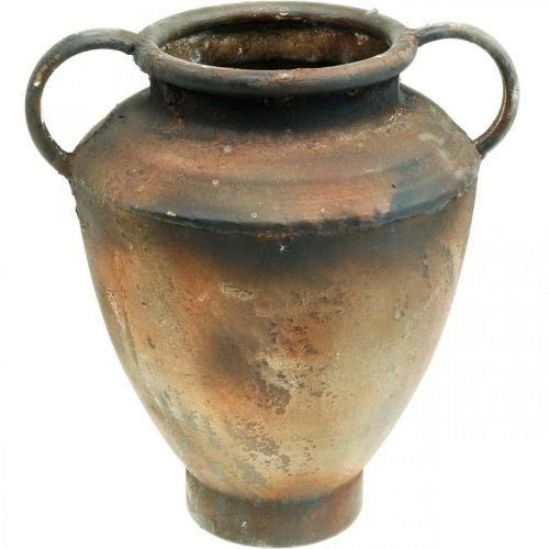 Amphore aspect antique pour vase à planter décoration de jardin en métal H29cm