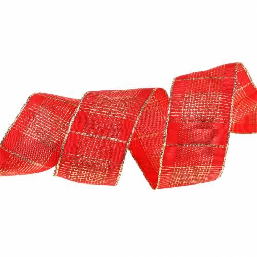 Karoband avec fil métallique rouge, or 40mm L20m