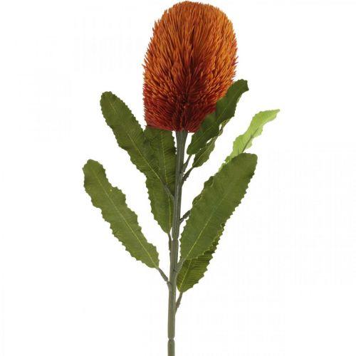 Fleur Artificielle Banksia Orange Automne Décoration Fleurs Funéraires 64cm